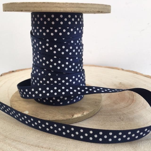 Navy & White Polka Dot Grosgrain Ribbon 9mm