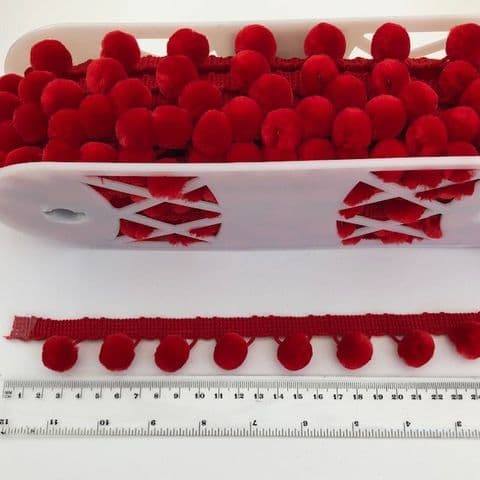 NEW!  Large 28mm  Red Luxury Pom Pom Trimming!