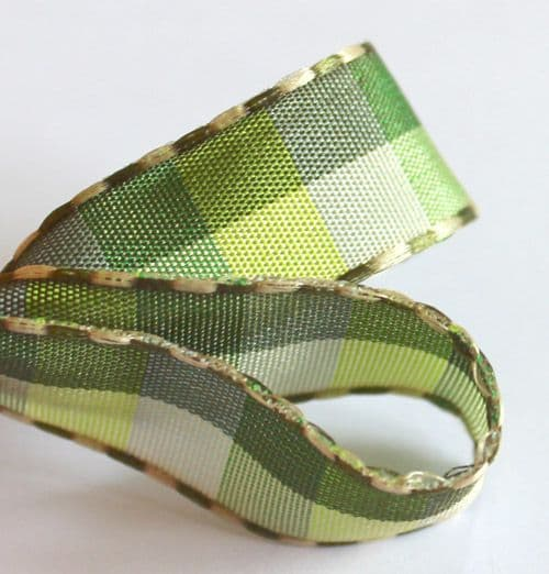 Olive Green Taffeta Checked Ribbon 14mm