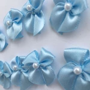 Pale Blue Satin Bow with Pearl