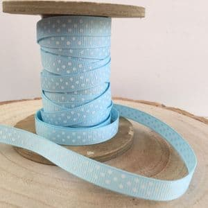 Pale Blue & White Polka Dot Grosgrain Ribbon
