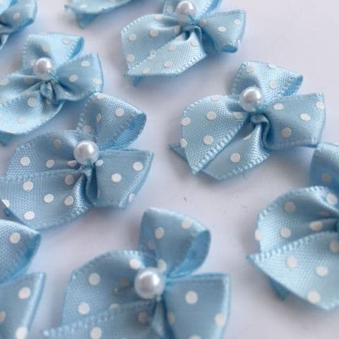 Pale Blue  & White Satin Polka Dot Bow with Pearl