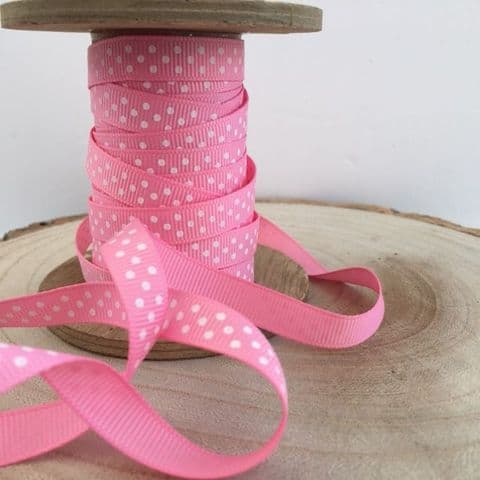 Pink & White Polka Dot Grosgrain Ribbon 9mm