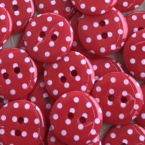 Polka Dot Buttons - Red & White