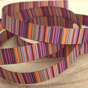 Purple Orange Striped Grosgrain 9mm Ribbon -2 Metres