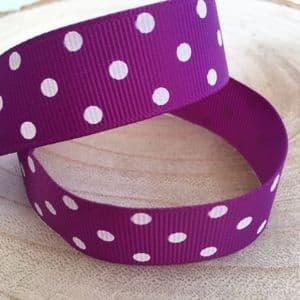 Purple & White Polka Dot Grosgrain Ribbon