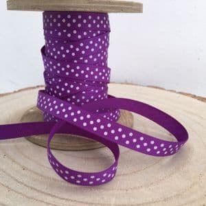 Purple & White Polka Dot Grosgrain Ribbon 9mm
