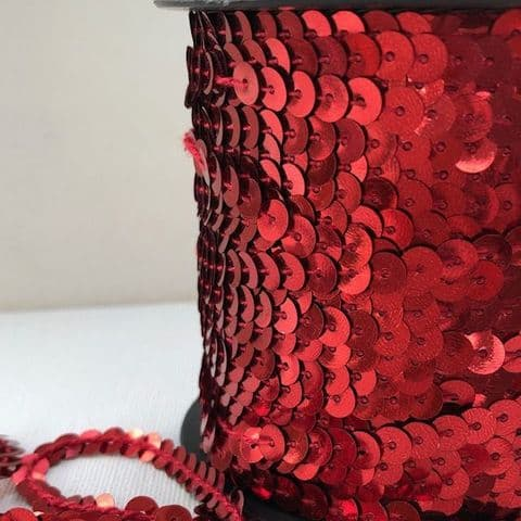 Red 6mm Round Sequin Strip