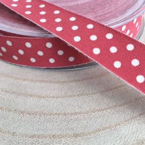 Red Cotton Ribbon with Cream Spots 16mm