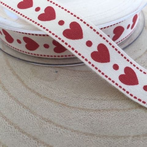 Red Hearts and Cream Cotton Ribbon 16mm