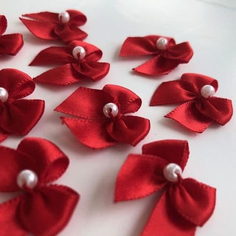 Red Satin Bow with Pearl