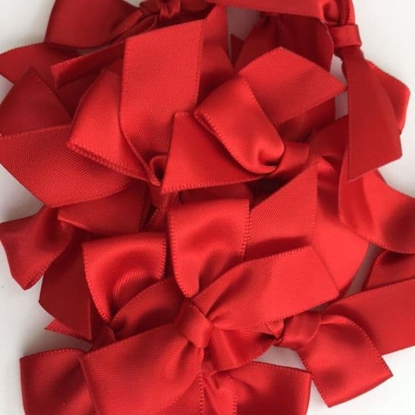 Red Satin Large 15mm Ribbon Bows