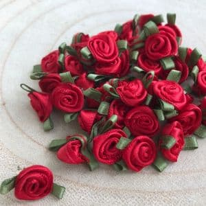Red  Satin  Small Ribbon Roses