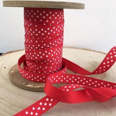 Red & White Polka Dot Grosgrain Ribbon 9mm