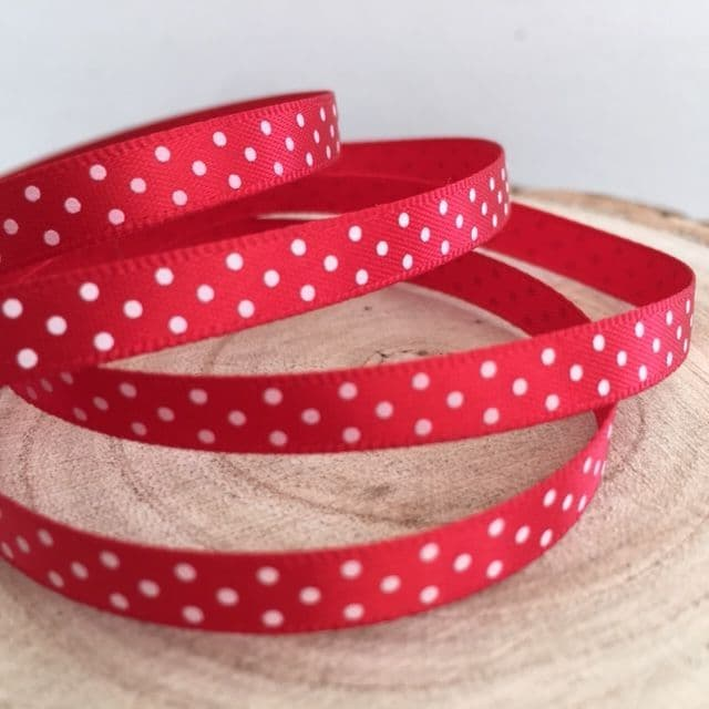 Red & White Satin Polka Dot Ribbon