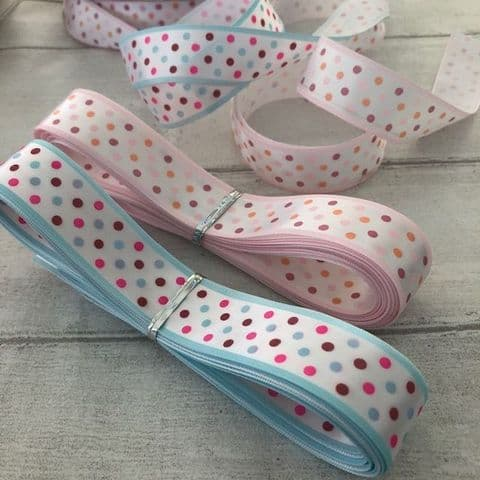 Satin Multi Coloured Polka Dot 23mm