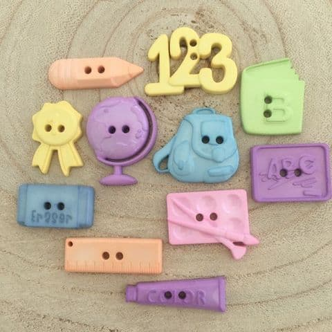 School Themed Shaped Buttons in Assorted Pastel Colours