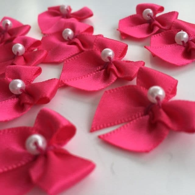 Shocking Pink Satin Bow with Pearl