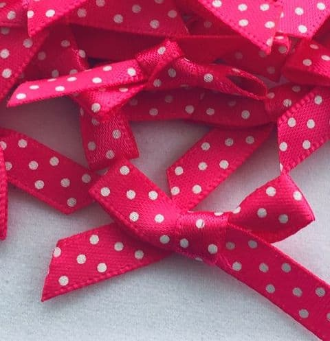 Shocking Pink & White Satin Polka Dot Bows