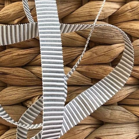 Silver Grey & White Luxury Striped 9mm Ribbon - 2 Metres