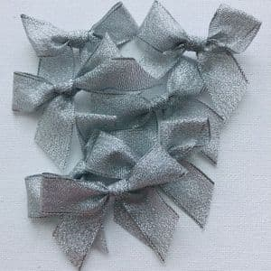 Silver Metallic Lurex 15mm Bows