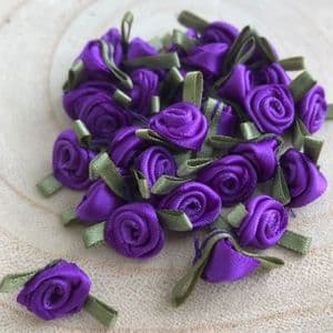 Small Purple Ribbon Roses