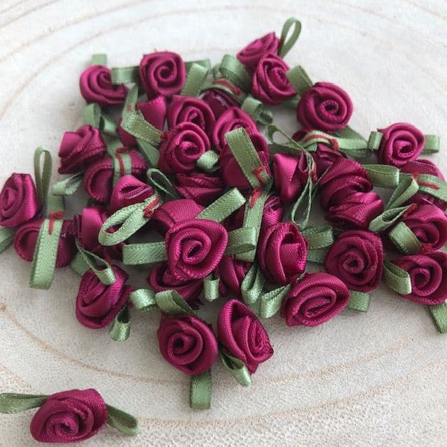 Small Wine Burgundy Ribbon Roses