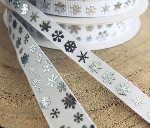 Snow Flake Grosgrain Ribbon