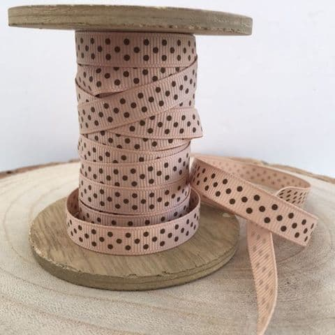 Tan & Brown Polka Dot Grosgrain Ribbon 9mm