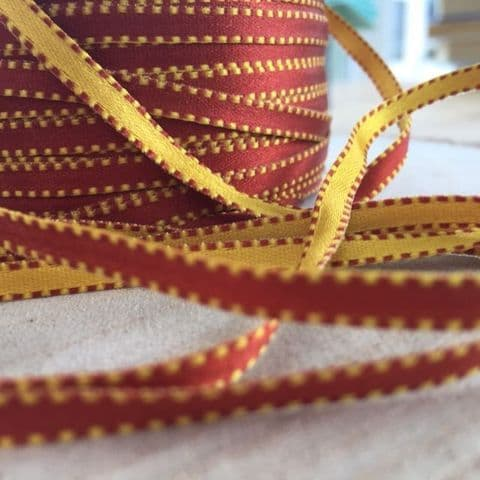 Tan & Old Gold Reversible Satin Ribbon 5mm