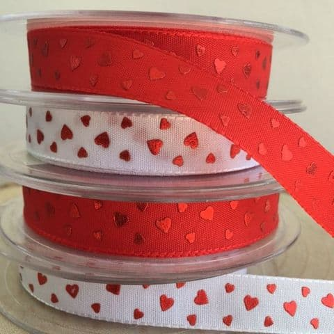 White & Red Heart Ribbons 15mm