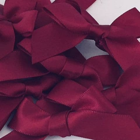 Wine Burgundy Satin Large 15mm Ribbon Bows