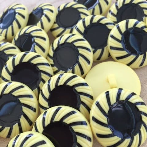 Yellow & Black 25mm Button