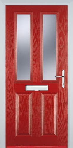 2 Panel 2 Glazed Composite Door - Red