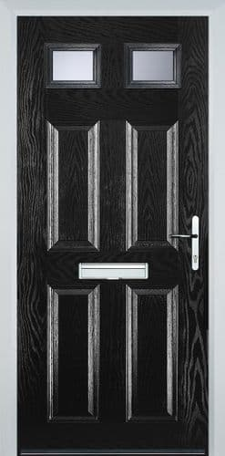 4 Panel 2 Square Composite Door - Black