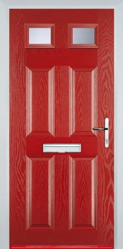 4 Panel 2 Square Composite Door - Red