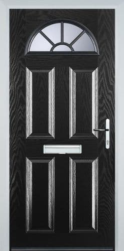 4 Panel Sunburst Composite Door - Black