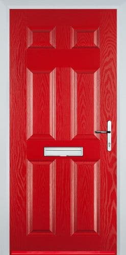 6 Panel Composite Door - Red