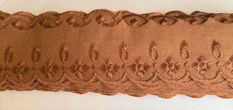 """Clearance 2"""" Brown Broderie Anglais"""
