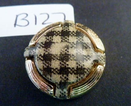 Clearance B127 Gold Check Round Button
