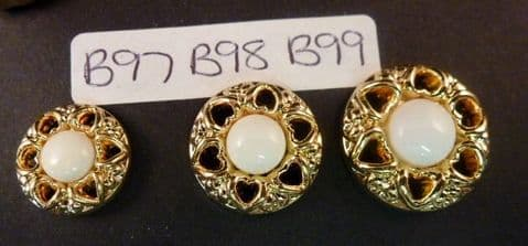 Clearance B98 Gold & White Round Button