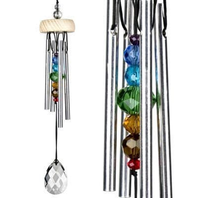 Crystal Gem Drop Wind Chime with Chakra From Woodstock. 25cm Long