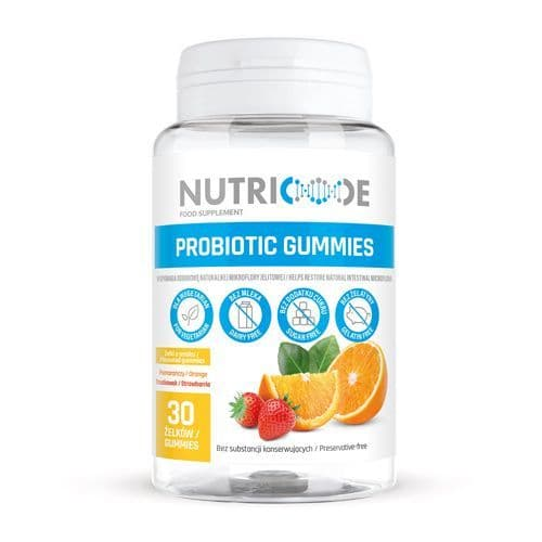 Nutricode Probiotic Gummies For Adults - 30 Strawberry & Orange Flavour