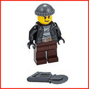 LEGO City Police Crook Minifigure With Circular Saw Gift