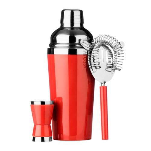 3 Piece Red Cocktail Shaker Set
