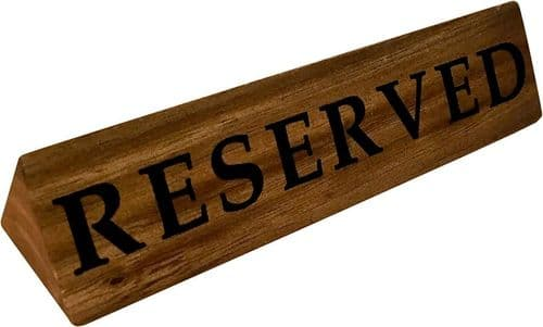 Acacia Wood Table Reserve Sign - 10 Pack