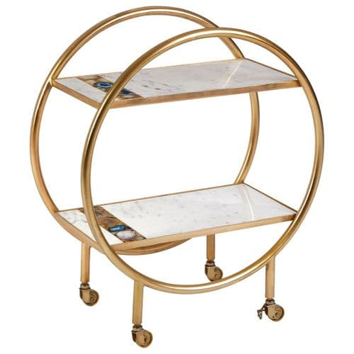 Agate White Marble Art Deco Gold Drinks Trolley