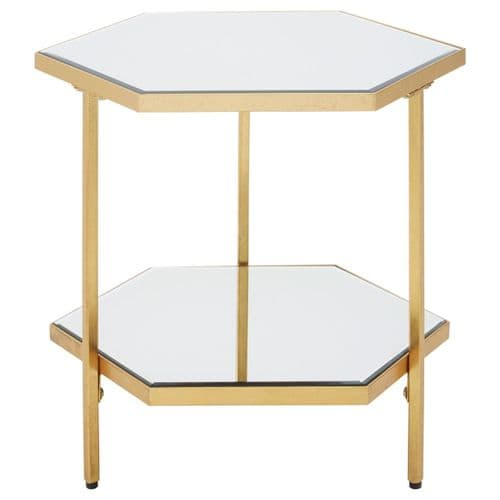 Astoria Luxe Gold 2 Tier Mirror Side Table
