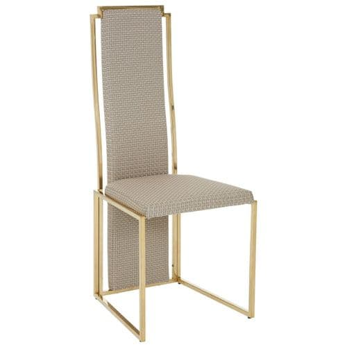 Beaufort Art Deco Gold & Natural Padded Dining Chair