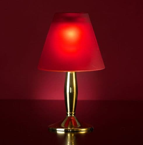 Bella Gold Lamp Stand With Red Glass Shade